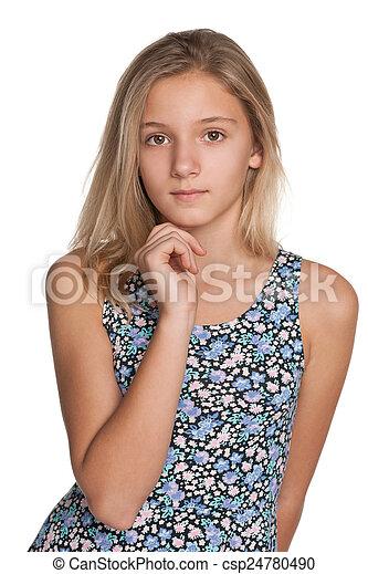 Pensive preteen girl - csp24780490