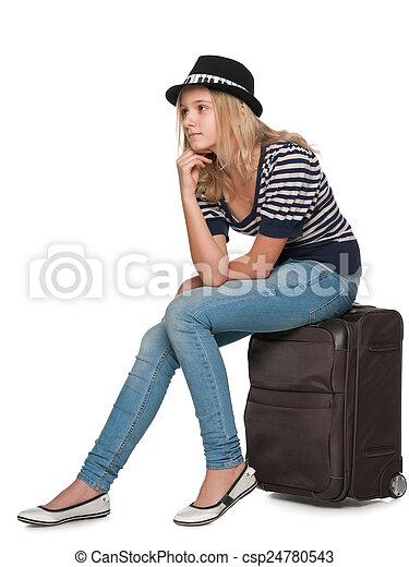 Pensive pretty traveler - csp24780543