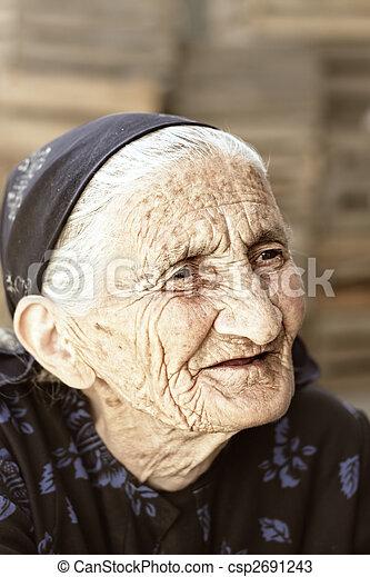 Pensive senior outdoor portrait - csp2691243