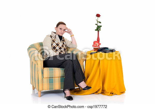 Pensive woman in sofa - csp1977772