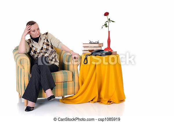 Pensive woman in sofa - csp1085919