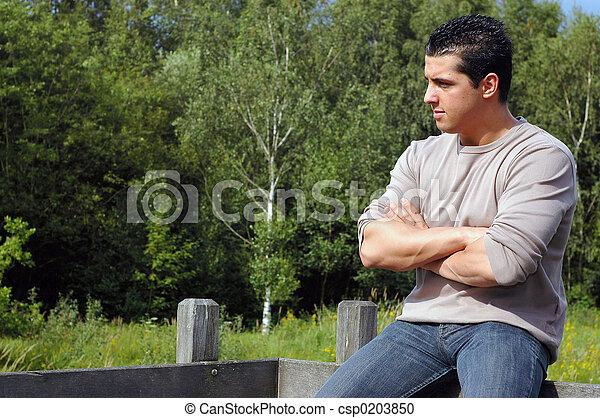 Pensive Young man. - csp0203850