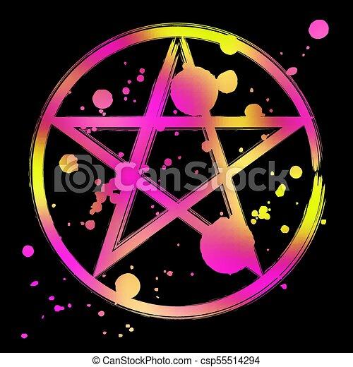 Pentagram Occult Symbol Pentagram Icon Vibrant Colorful Brush