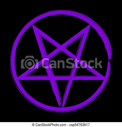 Pentagram Occult Symbol Reversed Pentagram Icon Brush Drawing