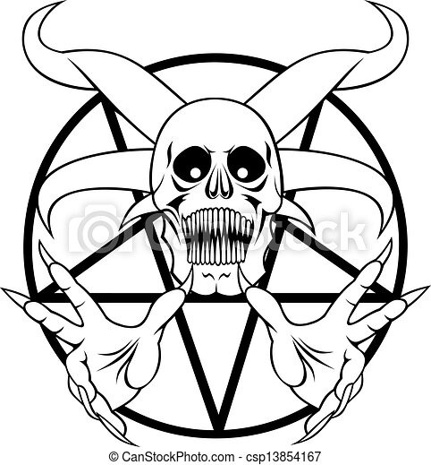 Pentagram Sign Of The Hell In The Black And White