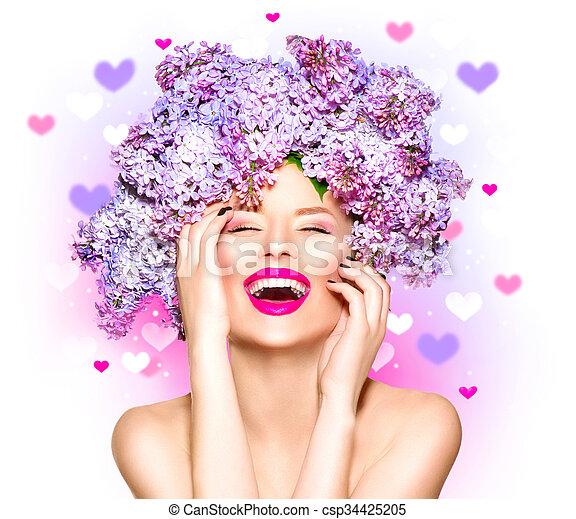 penteado, moda, beleza, lilás, modelo, flores, menina - csp34425205