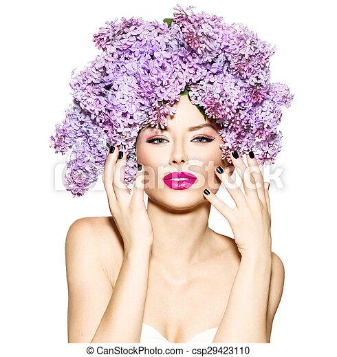 penteado, moda, beleza, lilás, modelo, flores, menina - csp29423110