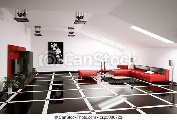 Penthouse Interior 3d Render   Csp3000723