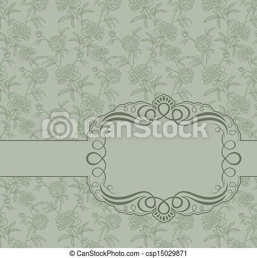 Un marco antiguo en el fondo de las peonías - csp15029871