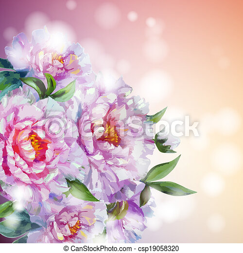 Peonies flowers background. - csp19058320