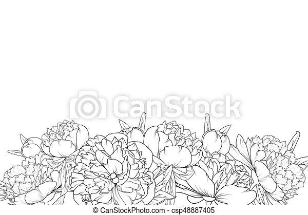 Peony flowers black white bottom border frame peony spring summer peony flowers black white bottom border frame csp48887405 mightylinksfo