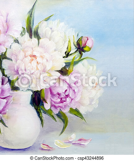 Peony Flowers In A White Vase Peony Pink Flowers In A White Vase
