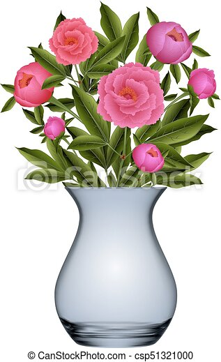 Peony Flowers In Vase Illustration Of Bouquet From Peony Flowers In