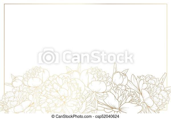 Horizontal Line Art : Peony rose flowers border frame bottom horizontal vector