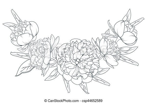 Peony rose laurel foliage garland black white peony rose flowers peony rose laurel foliage garland black white csp44652589 mightylinksfo