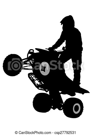 people and atv silhouettes athletes atv during races on