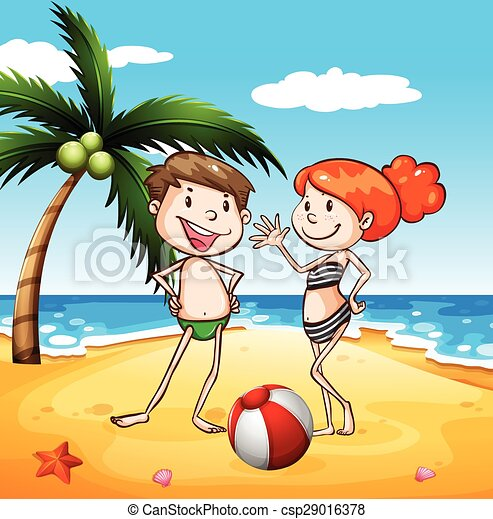 People And Beach Vector
