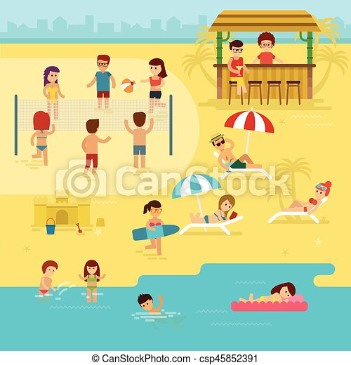 People are resting on the beach, summer vacation by the sea vector flat illustration. - csp45852391