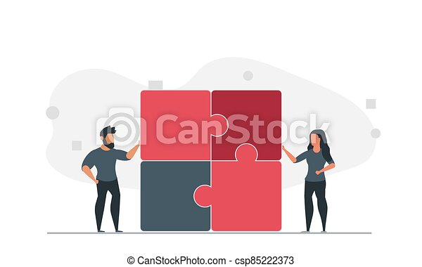 People are trying to solve the puzzle together. Man and woman team solve problem together vector illustration - csp85222373