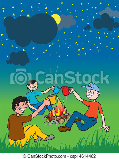 People Around Campfire Vector Cartoon Of A Group