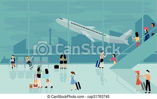 People at airport vector travel activities illustration ...
