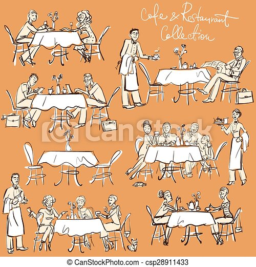 People at cafe and restaurant - Hand drawn Collection.  - csp28911433