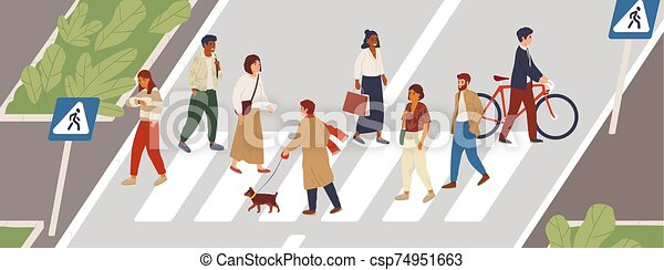 People at crosswalk flat vector illustration. Urban lifestyle concept. Male and female pedestrians crossing city street cartoon characters. Multiethnic community members. Rush hour idea. - csp74951663