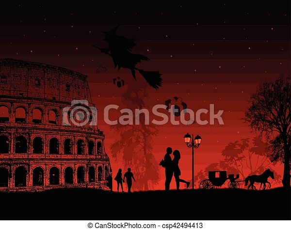 People at night in Rome with witch Befana sitting on a broomstick - csp42494413