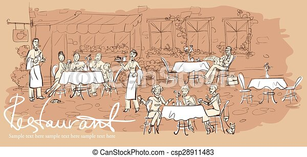 People at restaurant, outdoor cafe - Hand drawn horizontal background - csp28911483