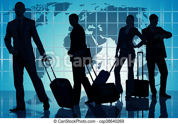 People at the airport with luggage - csp38640269