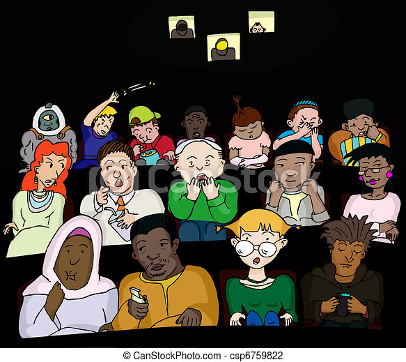 Vector Illustration of People at the Movies - Group of 16 ...