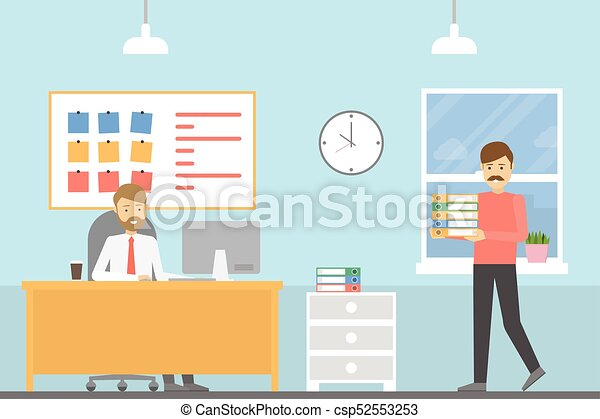 People at the office. indoors of office room. clipart vector ...
