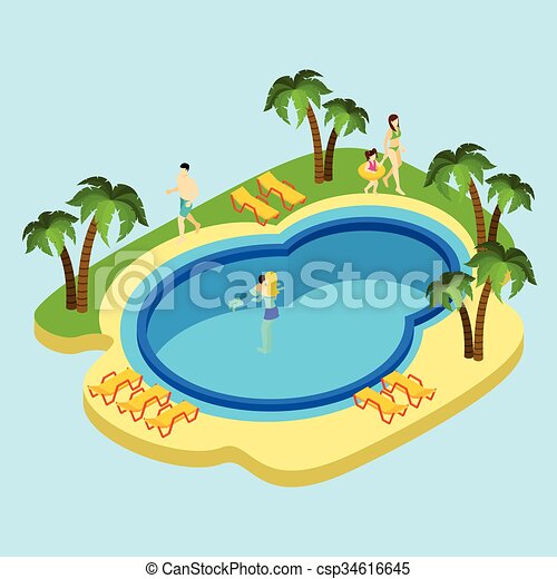 People at water park illustration people at water park eps vector search clip art How to draw swimming pool water