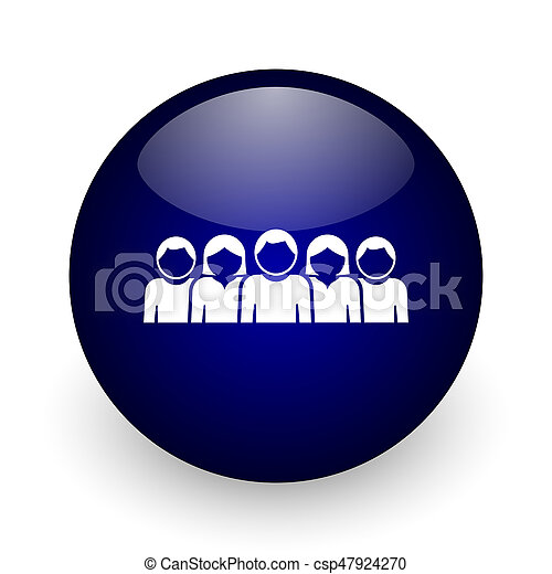 People blue glossy ball web icon on white background. Round 3d render button. - csp47924270