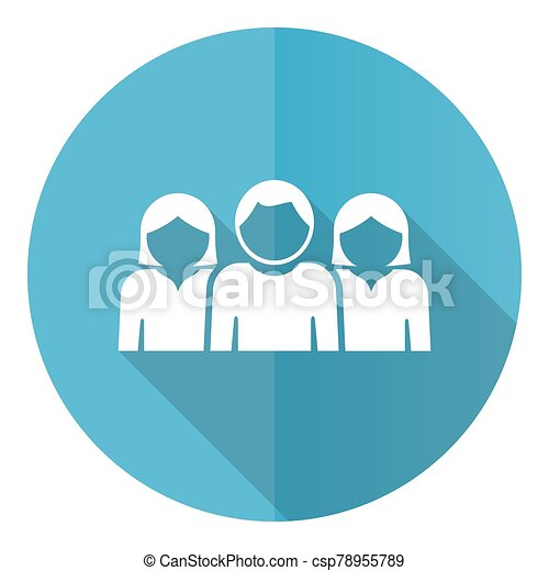 People blue round flat design vector icon isolated on white background - csp78955789