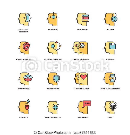 People brain thinking, mental health outline icons with flat elements - csp37611683
