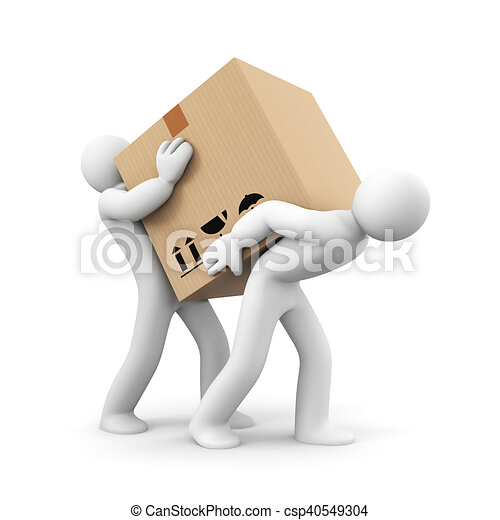 People carry heavy box - csp40549304