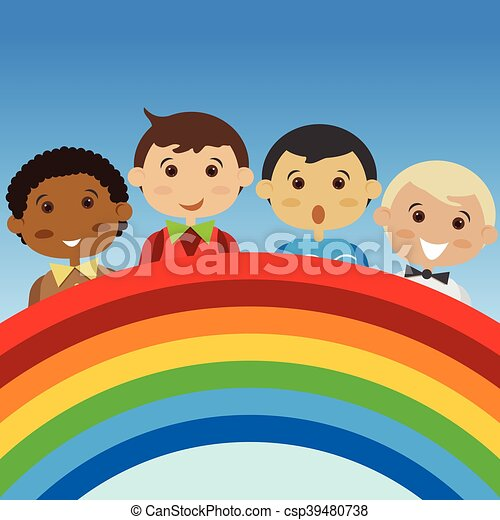 people cartoon boy with a colorful. - csp39480738