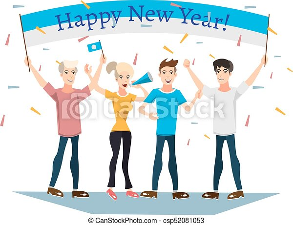 people celebrating new year with banner csp52081053