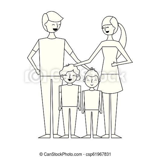 People Characters Cartoon Young Family Parents With Their Childrens Cartoon Vector Illustration Outline Design Canstock
