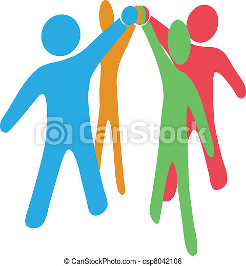 People collaborate team up join hands together - csp8042106