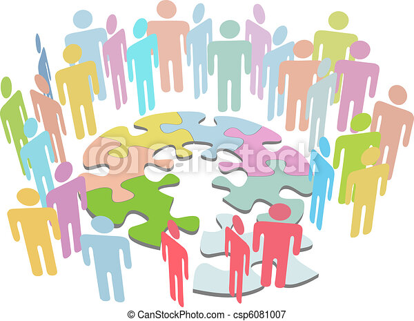 People collaborate to find puzzle solution solve problem - csp6081007
