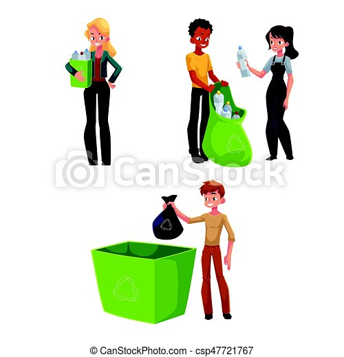 people collecting plastic bottles waste garbage recycling clip rh canstockphoto com recycling clip art images recycling clip art free