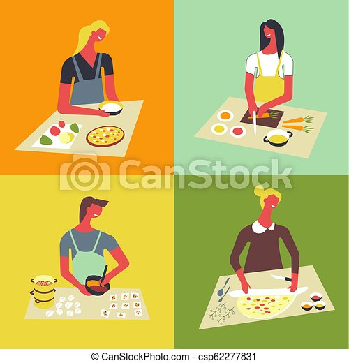 People cooking at kitchen table and stove. - csp62277831