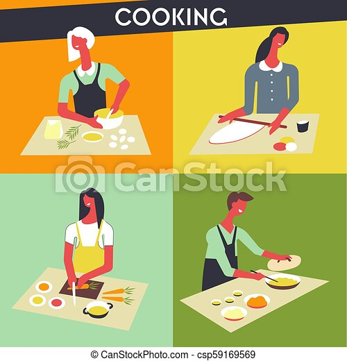 People cooking at kitchen vector faceless chef - csp59169569