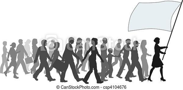 ===People crowd walk follow leader holding flag - csp4104676