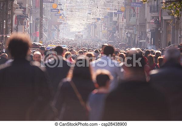 people crowd walking on street - csp28438900