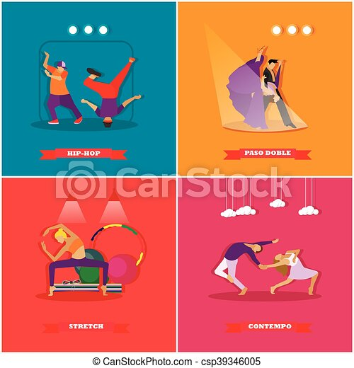 People Dancing In Different Styles. Breakdance, Paso Doble, Contemporary  Dance. Vector Illustration