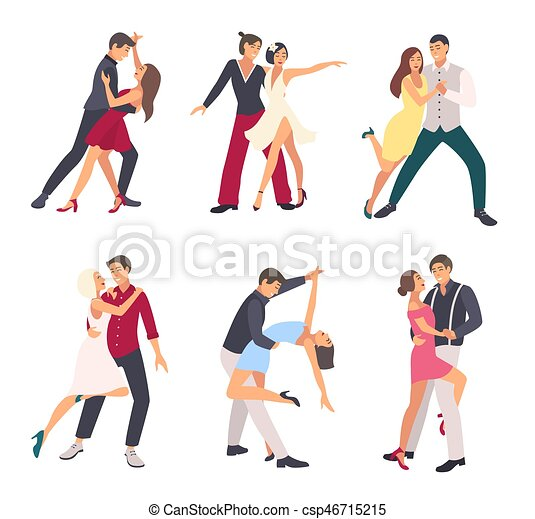 people dancing salsa couples man and woman in dance in different rh canstockphoto com people dancing clip art images