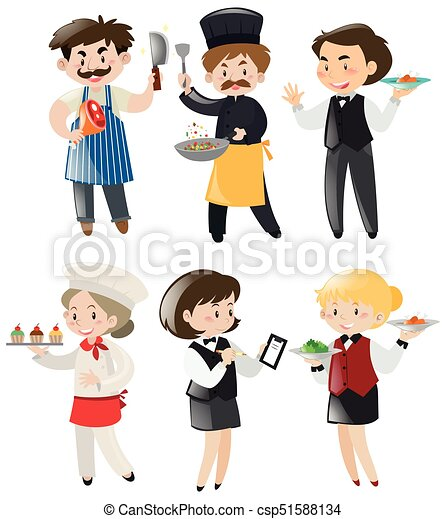 people doing different jobs in restaurant illustration vectors rh canstockphoto com different careers clipart